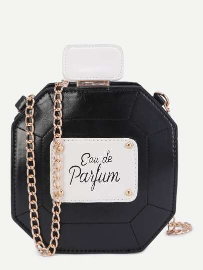 Black Perfume Bottle Design PU Crossbody Chain Bag