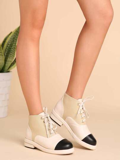 Apricot Faux Leather Cap Toe Lace Up Boots