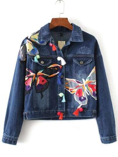 Зара джинсовые куртки с вышивкой 42