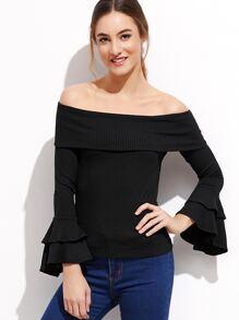 Black Foldover Off The Shoulder Ruffle Cuff T-shirt