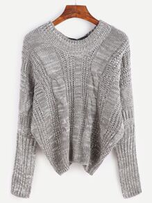 V Neck Batwing Sleeve Bow Tie Cable Knit Sweater