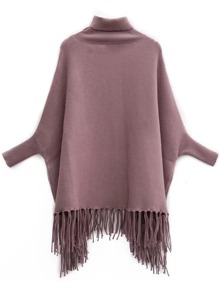 Coffee Turtleneck Batwing Sleeve Fringe Cape Sweater
