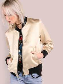 Sleek Satin Bomber Jacket GOLD