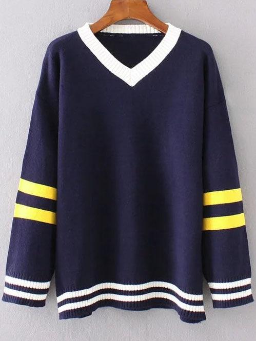Navy Striped Trim Contrast V Neck Sweater sweater161025212