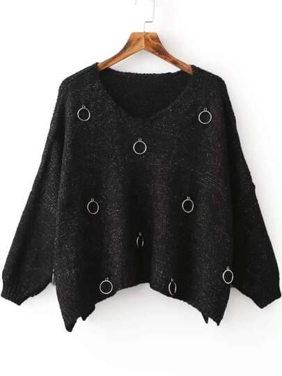 Black Ring Embellished V Neck Slit Drop Shoulder Sweater