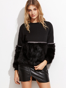 Mixed Media Faux Fur Sweatshirt