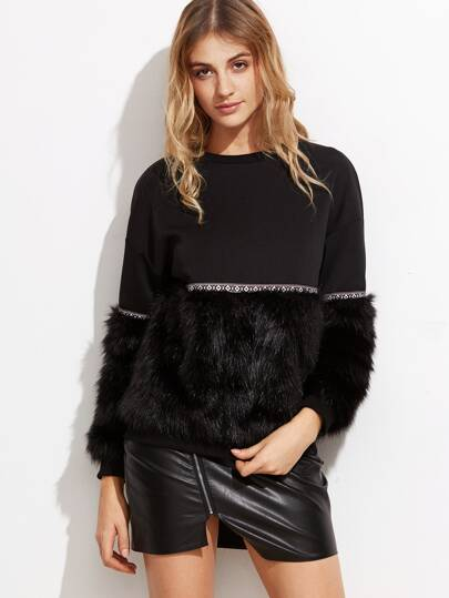 Mixed Media Faux Fur Sweatshirt