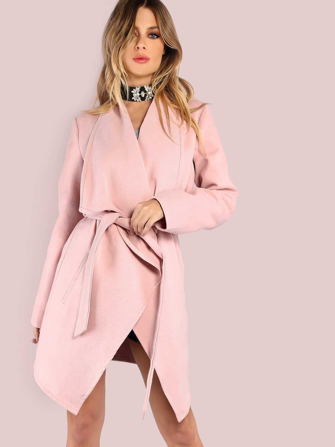 Drape collar wrap coat blush