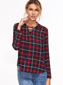 Tartan Plaid Lace Up Blouse
