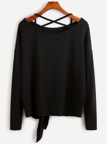 Black Drop Shoulder Criss Cross Tie Front T-Shirt