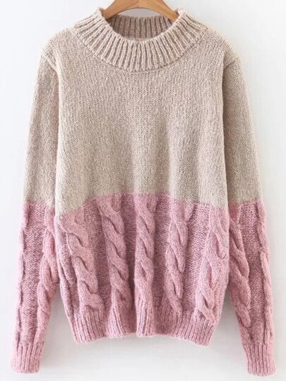 Khaki Color Block Cable Knit Sweater