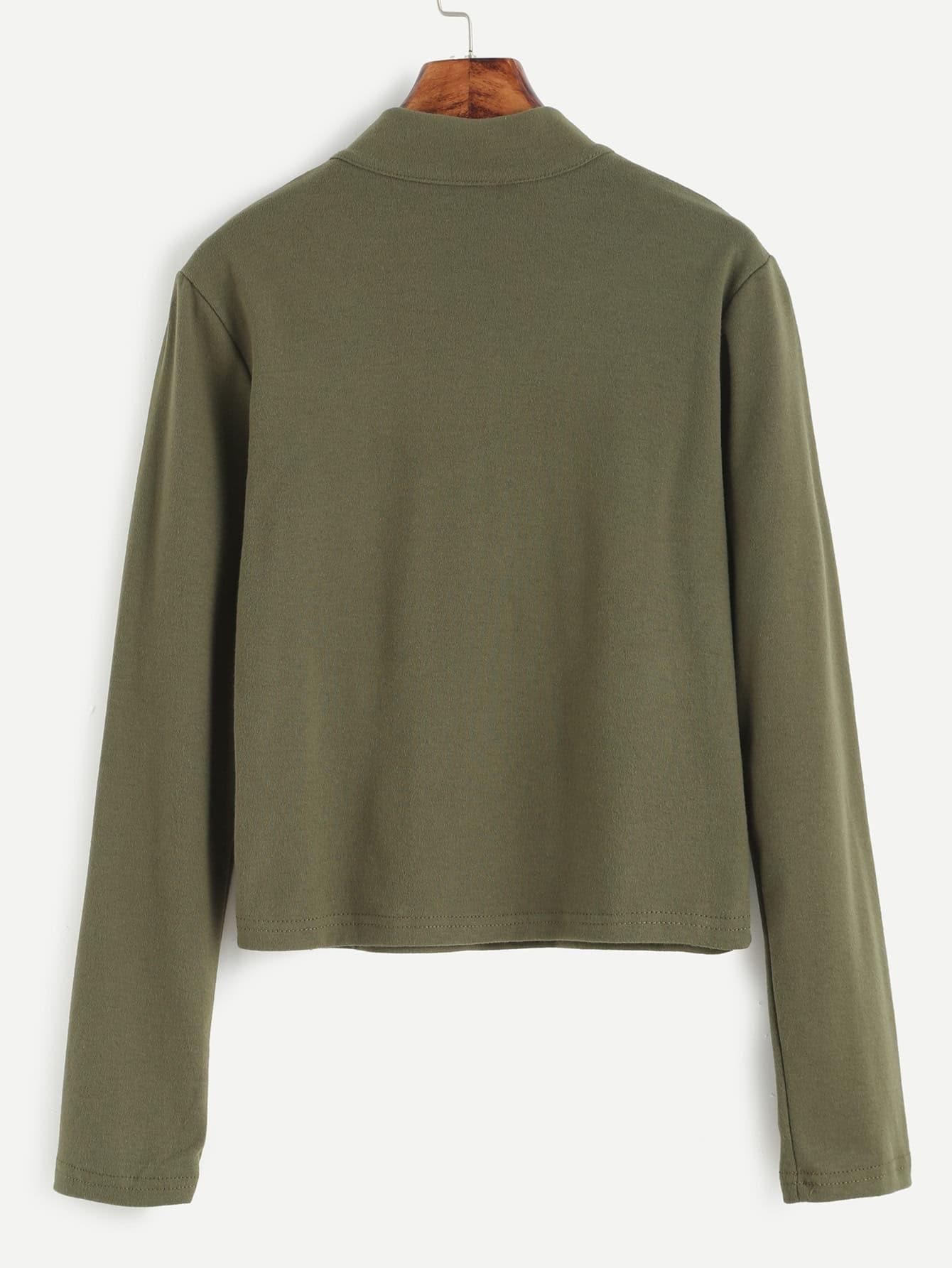 Mock neck zip front t shirt shein sheinside for Mock crew neck shirts