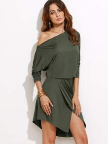 Army Green Asymmetric Off The Shoulder Overlap Dress