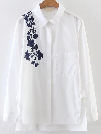 White Floral Embroidery Dip Hem Blouse With Pocket
