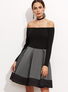 Contrast Bardot Box Pleated Lace Trim Skater Dress
