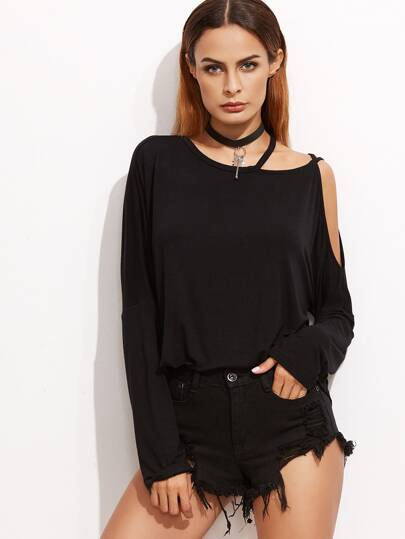 Black Strappy Asymmetric Open Shoulder T-shirt