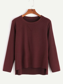 Burgundy Split Side High Low T-Shirt