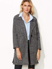 Heather Grey Split Side Coat With Buttons