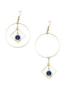 Gold Hollow Circle Sapphire Asymmetric Earrings