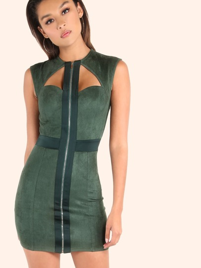 Suede Zip Front Mini Dress HUNTER GREEN