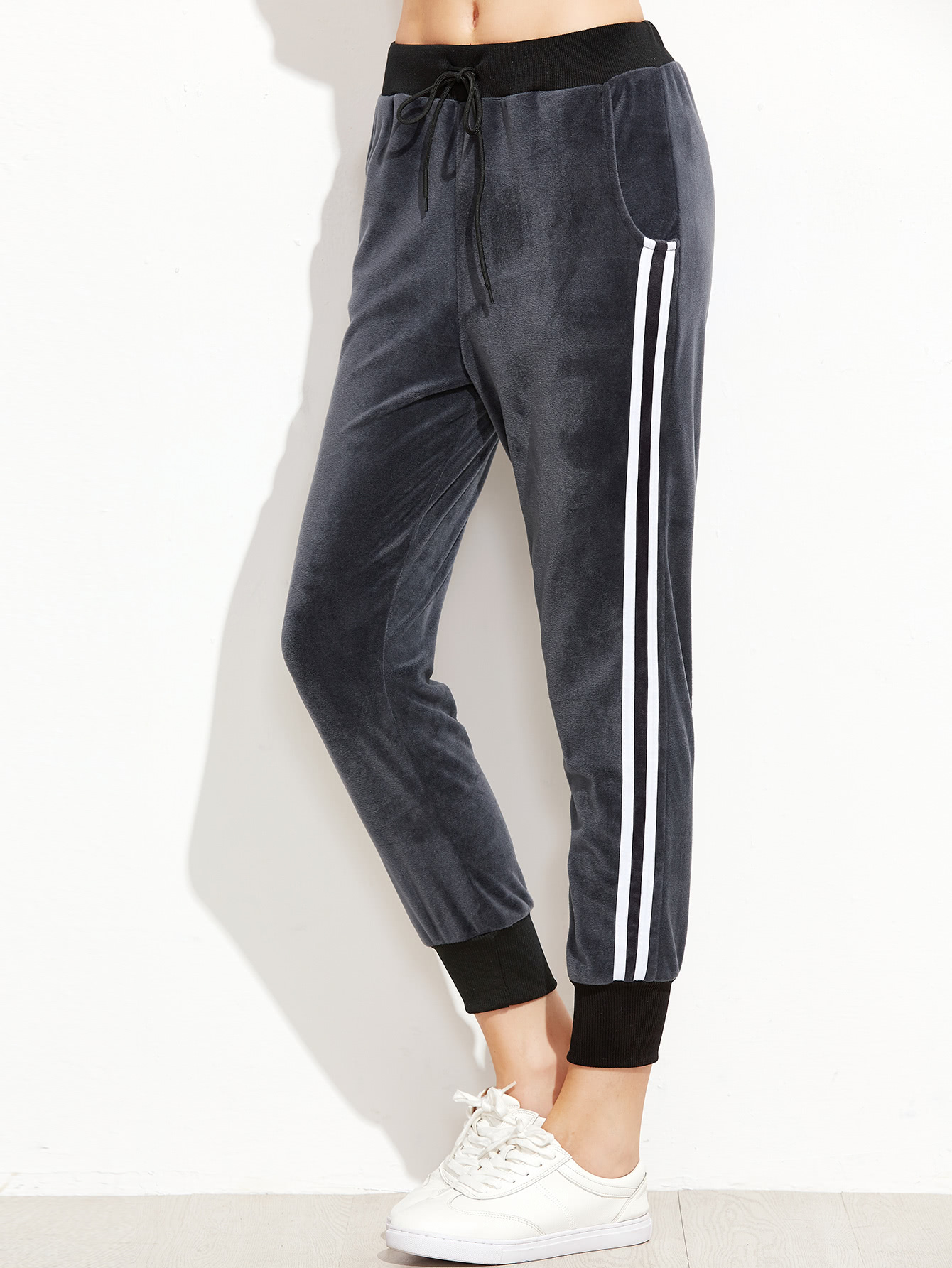 Image of Dark Grey Ribbed Trim Striped Side Velvet Pants