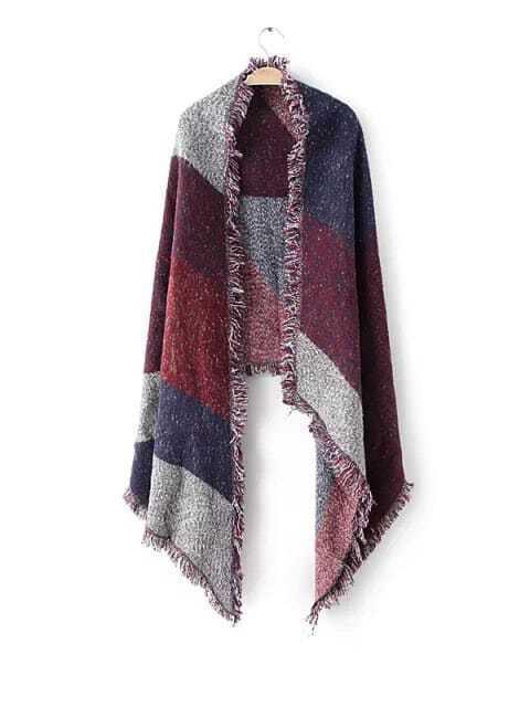 Purple Patchwork Raw Edge Shawl Scarf scarf161018210