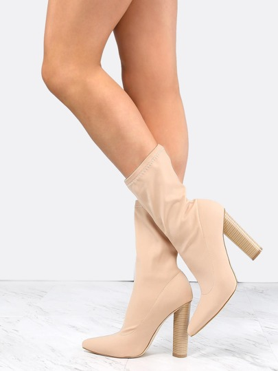 Stacked Heel Pointy Toe Boots NUDE