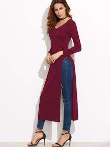 Burgundy Slit Side Long T-shirt