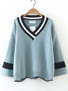 Blue Color Block V Neck Asymmetrical Sweater