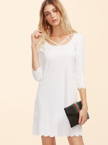 White Strappy Scoop Neck Scallop Edge Dress