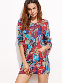 Paisley Print Long Sleeve Dress With Pockets