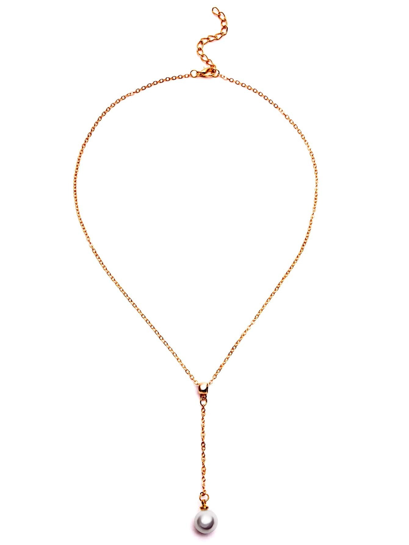 Gold Plated Faux Pearl Pendant Y Necklace -SheIn(Sheinside)