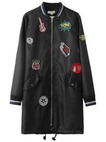 Black Striped Trim Patch Long Jacket With Drawstring Detail
