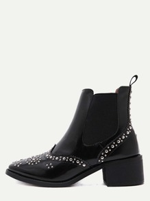 Black Patent Leather Square Toe Wingtip Studded Boots