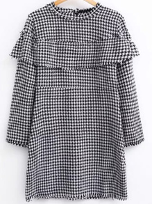 Two Tone Flounce Detail Houndstooth Dress