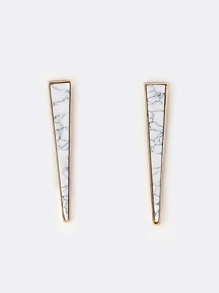 Marble Triangle Earrings WHITE MULTI