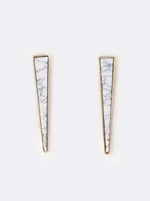 Marble Triangle Earrings WHITE MULTI