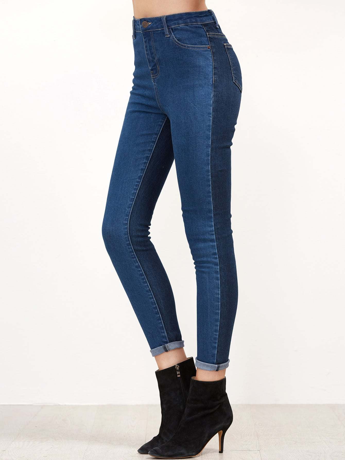 SheIn Contrast Skinny Denim Jeans