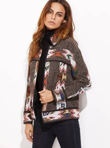 Brown Contrast Binding Geo Pattern Button Up Jacket