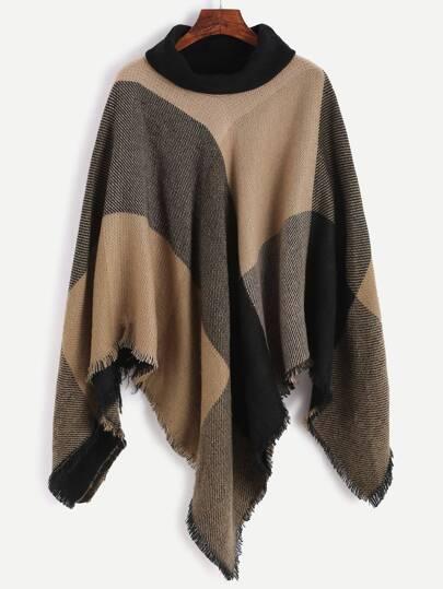 Check Plaid Turtleneck Fringe Poncho Coat