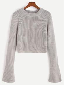 Grey Raglan Sleeve Bell Cuff Crop Sweater