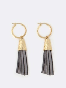 Suede Fringe Hoop Earrings GREY