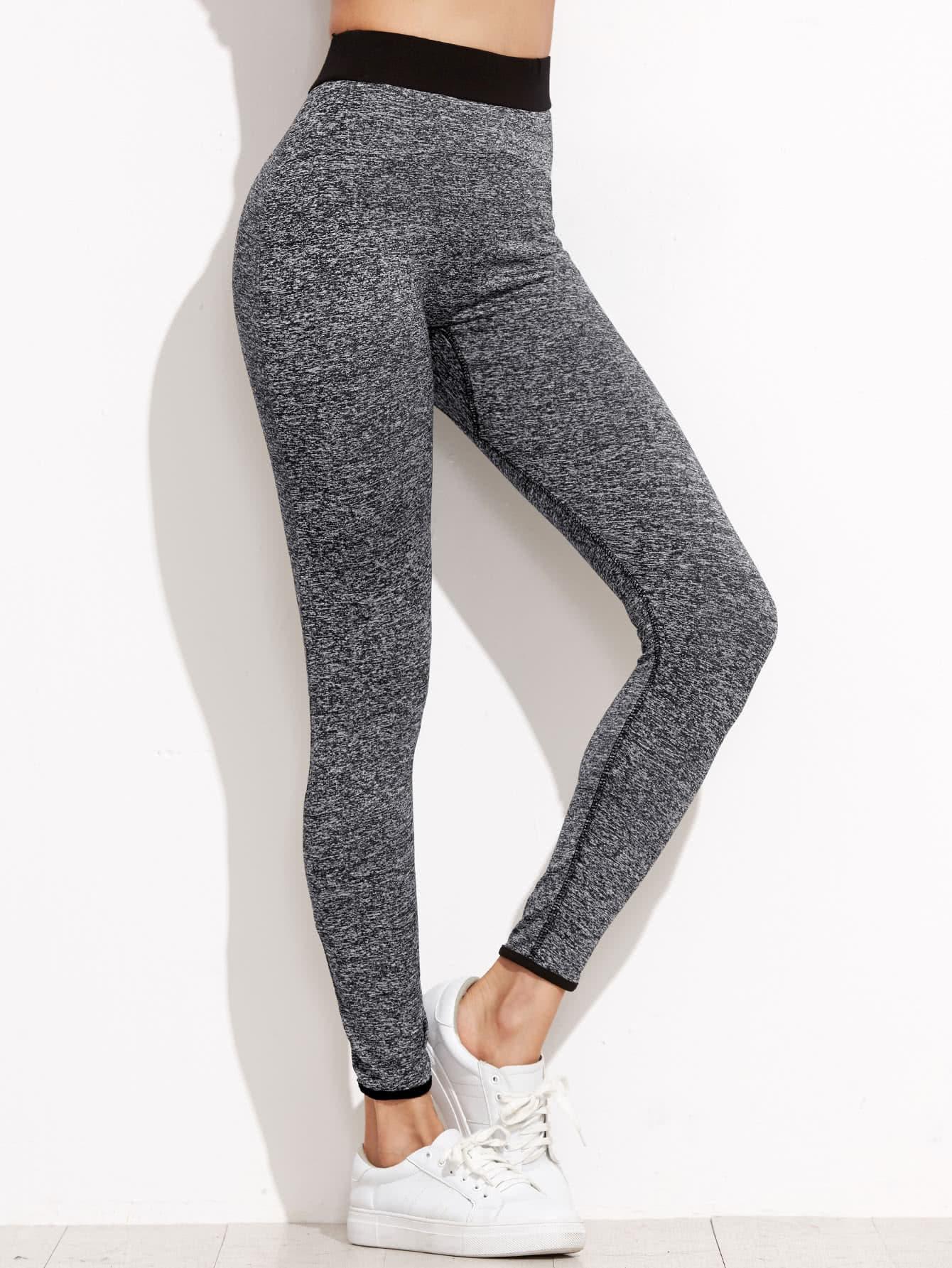 Marled Knit Contrast Binding Leggings
