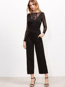 Pantalons larges à bretelle col V - noir