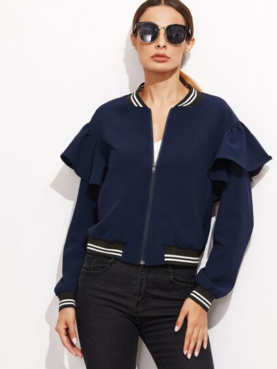 Navy Striped Trim Ruffle Bomber Jacket