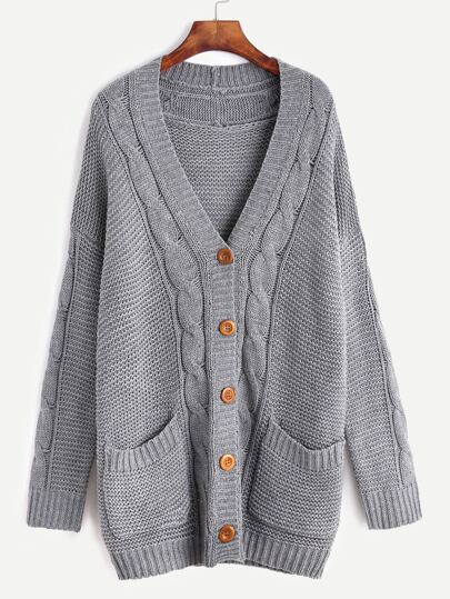 Grey Cable Knit Sweater Coat With Pocket