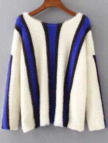 Jersey con hombro caído a rayas de color combinado