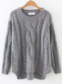 Pull asymétrique tricoté en câble - gris