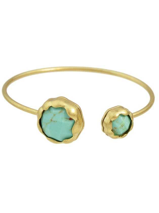 Blue New Rhinestone Open Cuff Bracelet