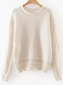 White Hollow Out Crew Neck Sweater